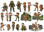 Soldiers in different actions