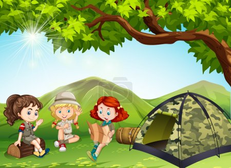 Three girls camping out in the field