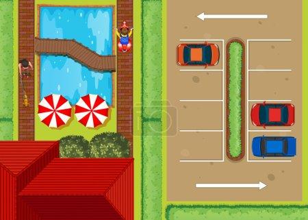 Illustration pour Vue du dessus du parking près de la piscine illustration - image libre de droit