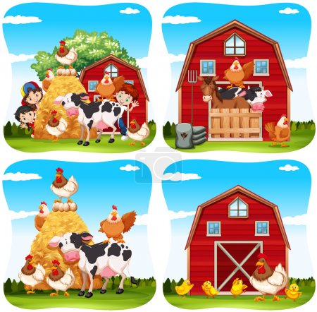 Illustration for Children and farm animals on the farm illustration - Royalty Free Image