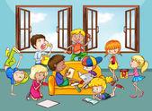 Children doing activities in the living room