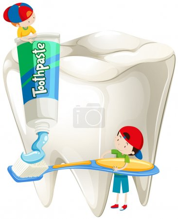 Boys with toothbrush brushing teeth