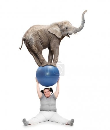 Obese woman lifting elephant.