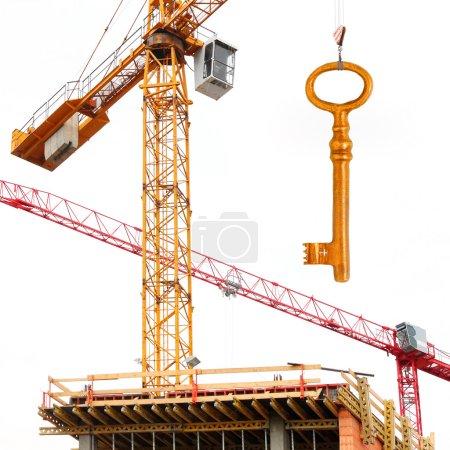 Construction crane with golden key