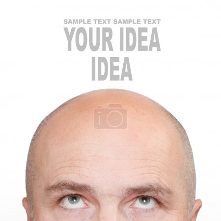Hairless man's head with space for your text