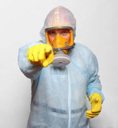 Photo for Man in protective clothing with respirator. Infection control concept. - Royalty Free Image