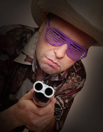 Gangster with shotgun aimed at you