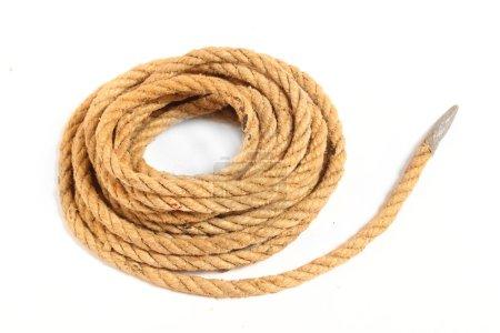 Ball of hemp rope isolated on white background