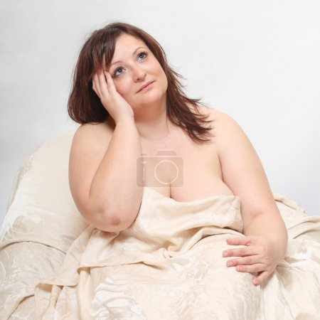 Overweight woman wake up