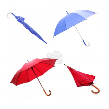 Collection of red and blue umbrellas