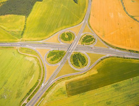 Aerial view of highway D5 interchange