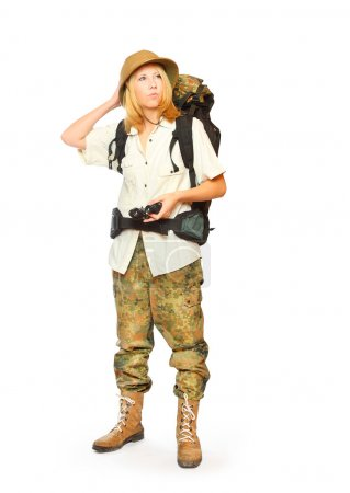 Hiker girl with backpack.