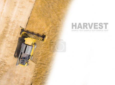 Aerial view of combine harvester on wheat field.