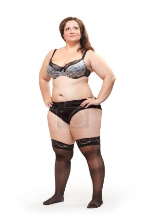 Overweight woman dressed only in underwear