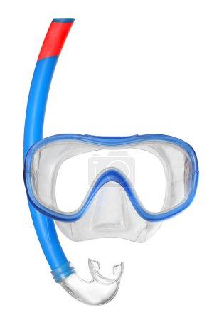 Photo pour Masque de plongée avec tuba sur fond blanc avec espace pour votre texte . - image libre de droit