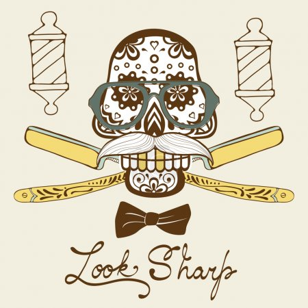 Look sharp. Skull with mustache and hat. Retro style hand drawn graphics for barber shop emblem