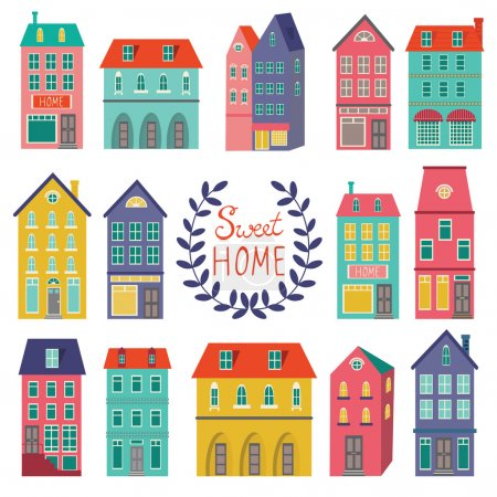 Illustration for Colorful houses collection. Home sweet home set. - Royalty Free Image