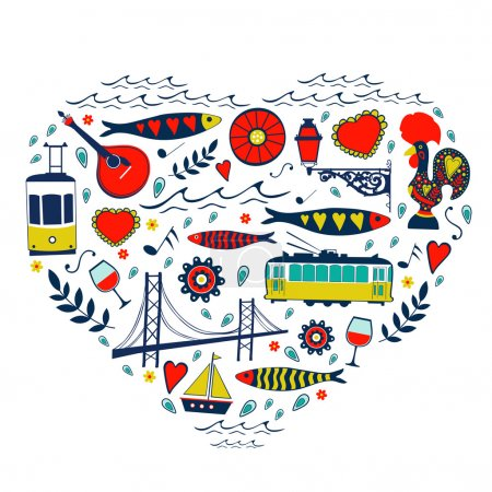Travel concept card. Illustration of love for Lisbon - heart with vector icons