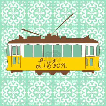 Illustration for Colorful illustration of traditional Lisbon tram in vector - Royalty Free Image