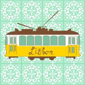 Colorful illustration of traditional Lisbon tram in vector