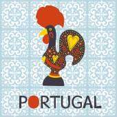 Illustration of Barcelos rooster symbol of Portugal