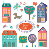 Home sweet home colorful set Vector illustration