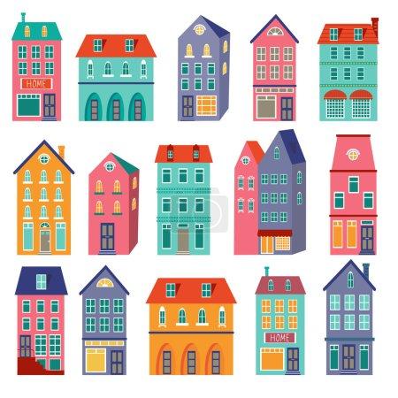 Illustration pour Collection de maisons colorées. Jeu de maison douce maison. illustration vectorielle - image libre de droit