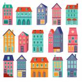 Colorful houses collection Home sweet home set vector illustration