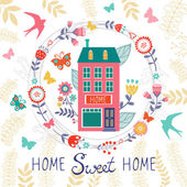 Home sweet home card with floral wreath vector illustration