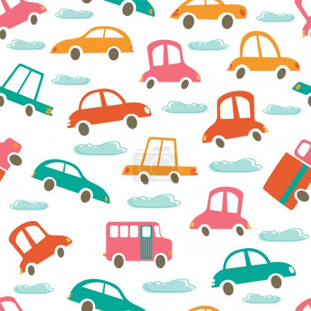 Colorful seamless pattern with cute cars and clouds