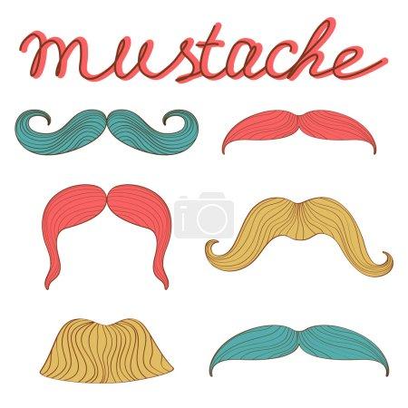 Stylish retro mustaches set