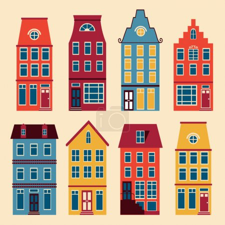 Illustration for Cute Amsterdam houses colorful set. Vector illustration - Royalty Free Image