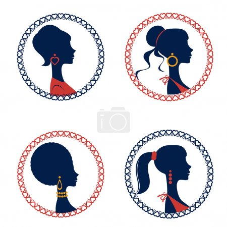 Beautiful  elegant women silhouettes set