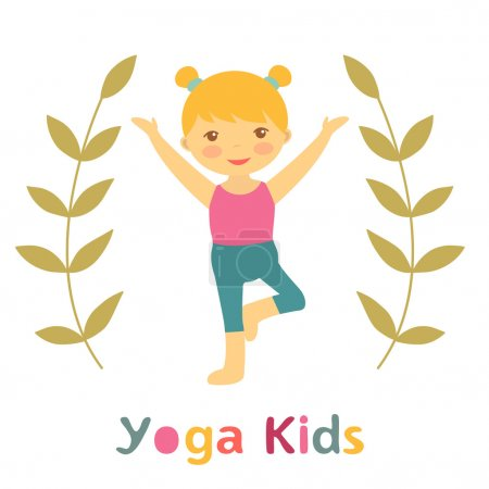 Cute yoga kids card with little girl doing yoga