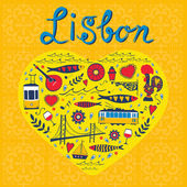Travel concept card Illustration of love for Lisbon - heart with vector icons