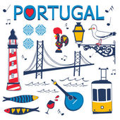 Stylish collection of typical Portuguese icons Vector illustration
