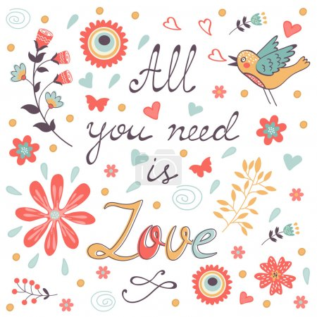 Illustration for All you need is love.  Cute greeting card. Vector illustration - Royalty Free Image