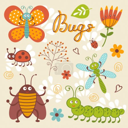 Cute collection of happy little bugs