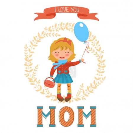 Cute mothers day postcard with little girl holding balloon and a word MOM in vintege style.
