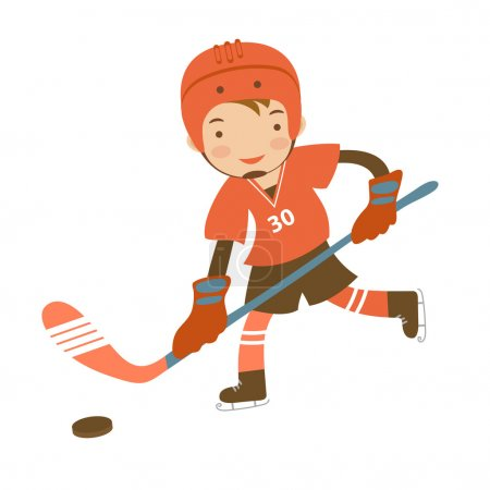 Illustration for Little hockey player character illustration in vector format - Royalty Free Image
