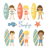 Cute collection of surfing kids  Illustration in vector format