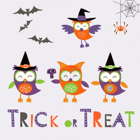 Trick or treat car with cute owl characters