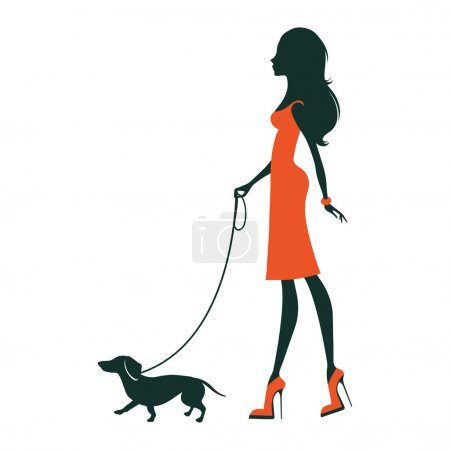 Illustration pour Illustration d'une belle silhouette de femme avec teckel - image libre de droit