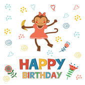 Stylish Happy birthday card with cute monkey playing and having fun