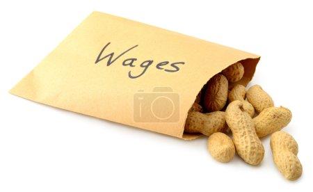 Foto de Cacahuetes, caída de los salarios sobre marcado aislados sobre fondo blanco - Imagen libre de derechos