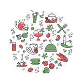 Kitchen Food Set of abstract pictures A vector