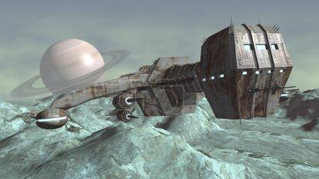 Photo pour Vaisseau futuriste qui voyagent sur une planète extraterrestre rocheuse. illustration numérique - image libre de droit