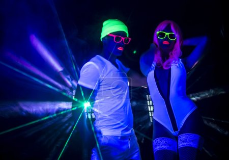 sexy neon glow couple party
