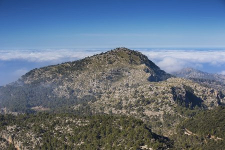 Mallorca mountains mist clouds