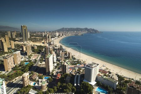 the coast and high rise skyline of benidorm